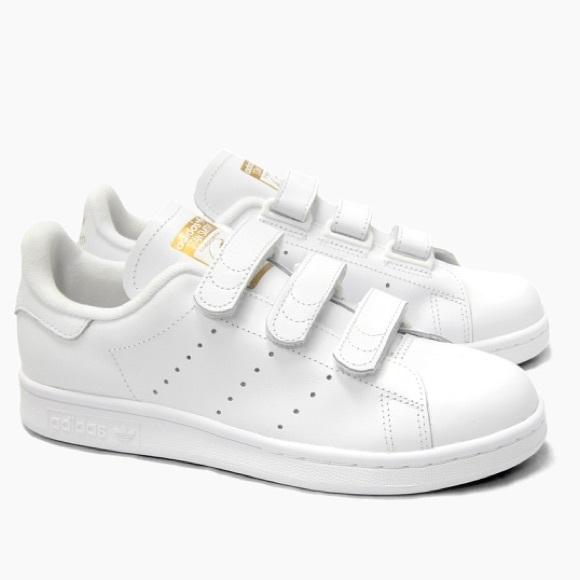 All White Velcro Strap Stan Smith Shoes